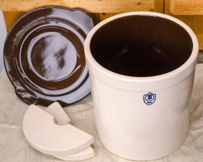 Three gallon pickling crock set: crock, lid, and weights