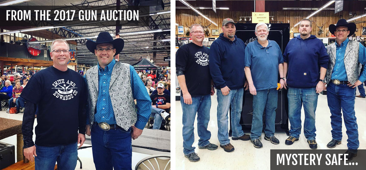 Sporting Goods Manager Mike Vause, our auctioneer, and mystery safe winners from the 2017 Gun Auction at Smith & Edwards