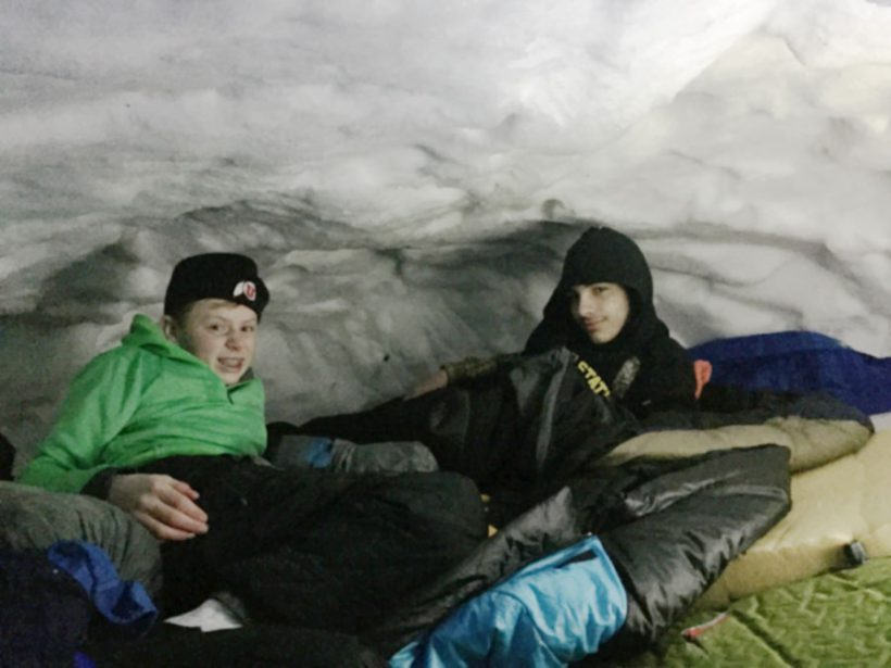 Scouts of troop #494 in their ice cave at Klondike - photo courtesy Richard Broadbent