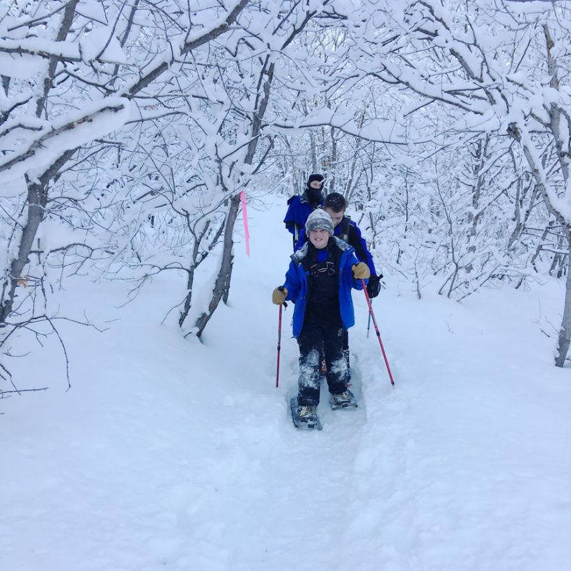 Scouts of Troop #494 snowshoeing at Klondike. Photo courtesy Richard Broadbent