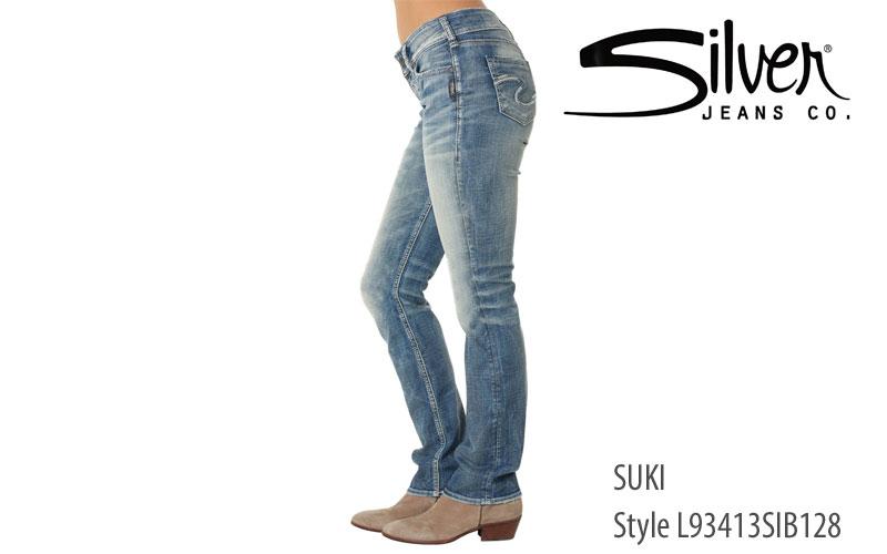 Silver Suki mid straight leg ladies' jeans L93413SIB128