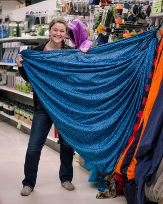 EmmaLee showing off the Grand Trunk batik hammock.