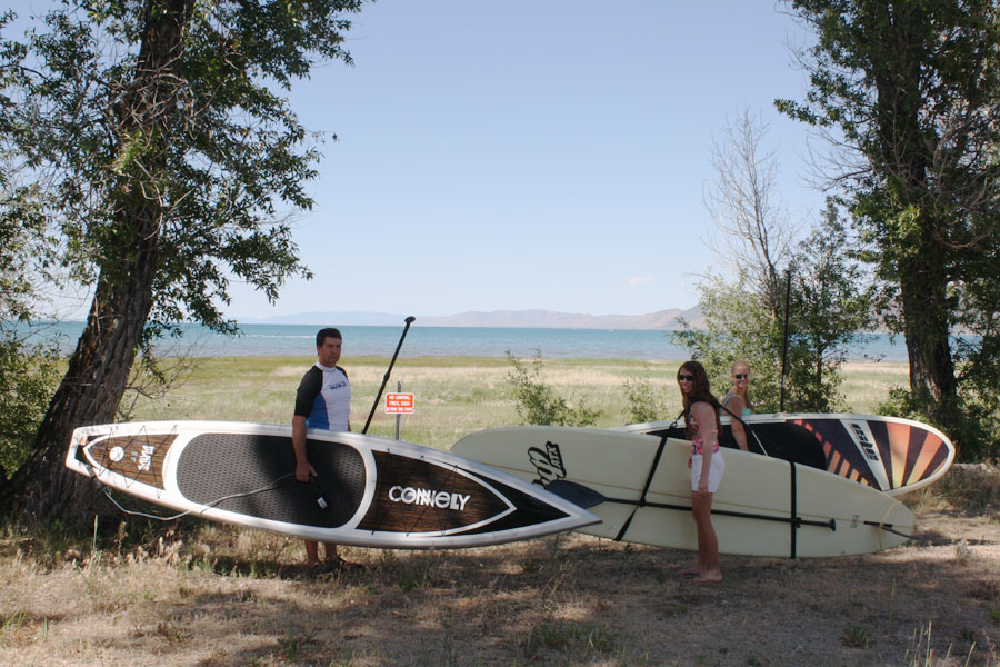 Paddleboarding with family