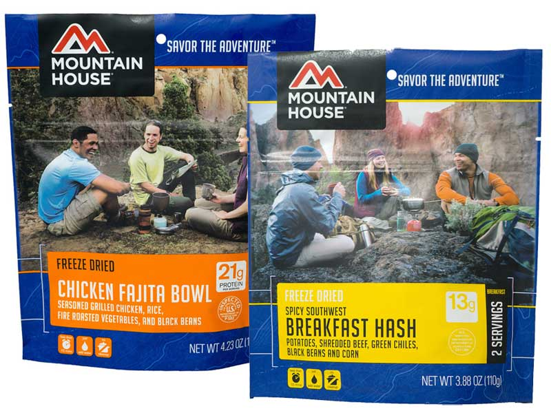 New Mountain House freeze-dried flavors: Chicken Fajita & Breakfast Hash