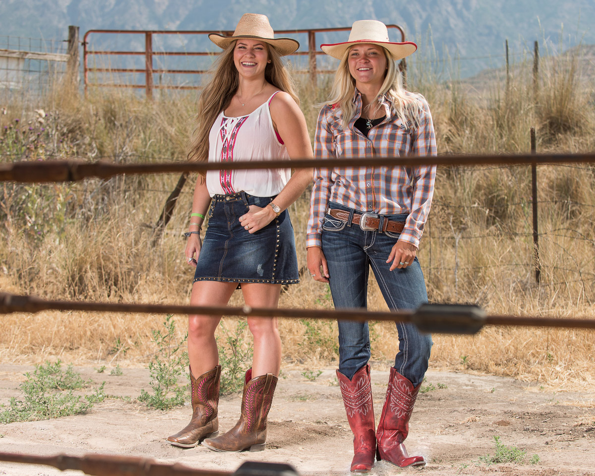 Kelsy and Katelyn enjoying the view and their western boots.