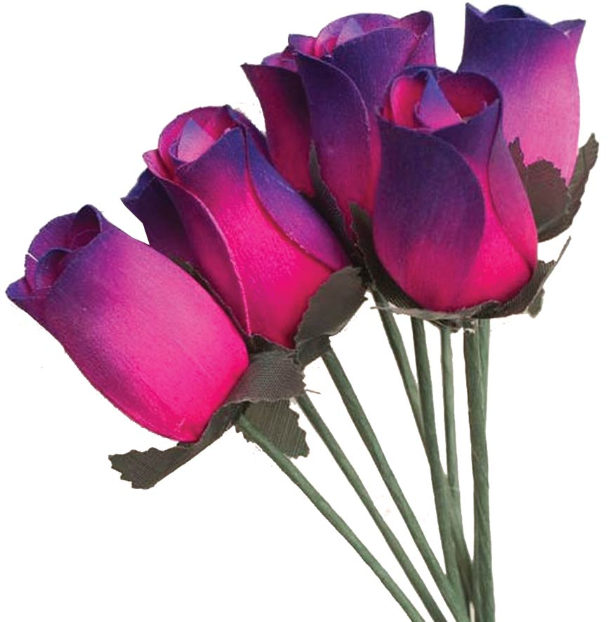 Wooden Roses pink to purple