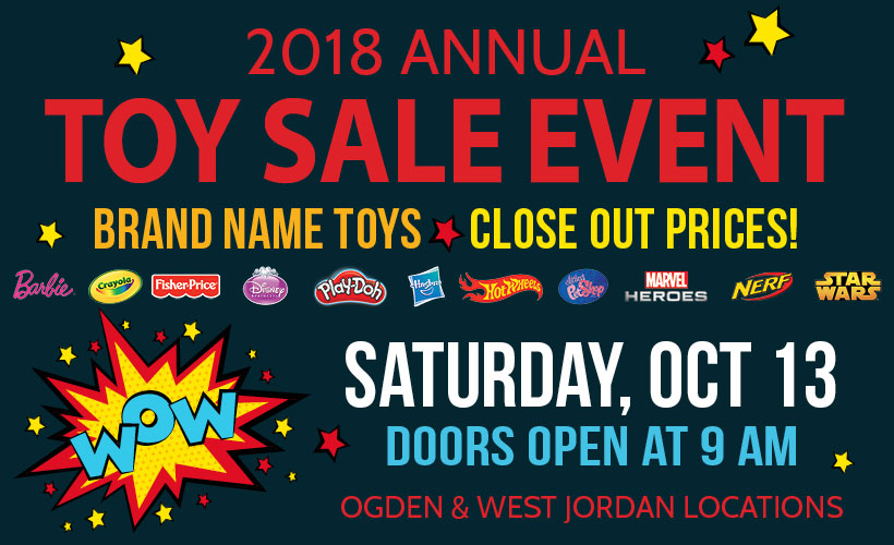 Toy Sale event on Saturday, October 13th 2018. Doors open at 9 a.m. with giveaways happening before store opening for early comers.