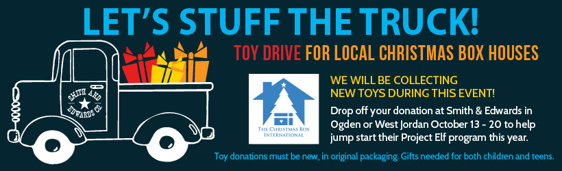 Bring donations of NEW toys and games between October 13th and 20th. All donations will be taken to the Christmas Box Houses of Salt Lake and Ogden for at-risk children and teens in Northern Utah.