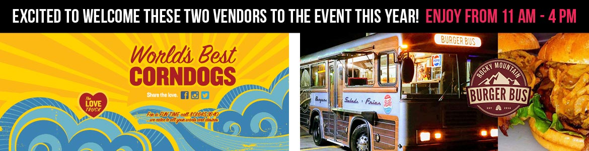 Buy lunch while you spend the day with us from World's Best Corndogs and Burger Bus!