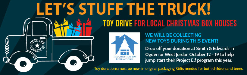 Bring donations of NEW toys and games between October 12 and 19. All donations will be taken to the Christmas Box Houses of Salt Lake and Ogden for at-risk children and teens in Northern Utah.