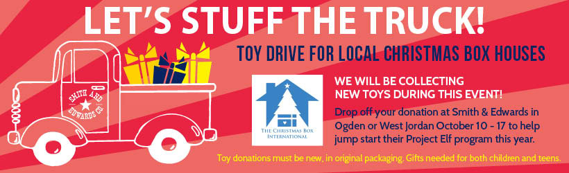 Bring donations of NEW toys and games between October 10th and 17th. All donations will be taken to the Christmas Box Houses of Salt Lake and Ogden for at-risk children and teens in Northern Utah.
