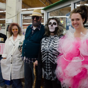 Mad Cow Scientist Brenda, Old Man Marty, Skeleton Shelly, & Loofah Sam