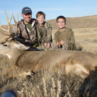 Jake Gertsch and his boys and their Buck.